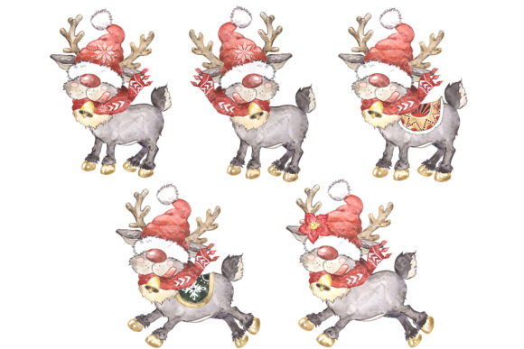 Scandinavian Gnome and Reindeer Clipart Graphic Item