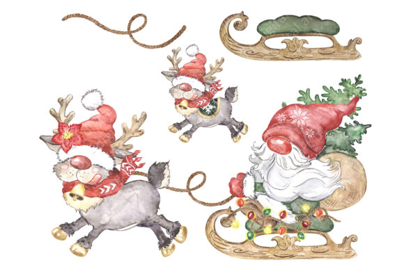 Scandinavian Gnome and Reindeer Clipart Graphic Design