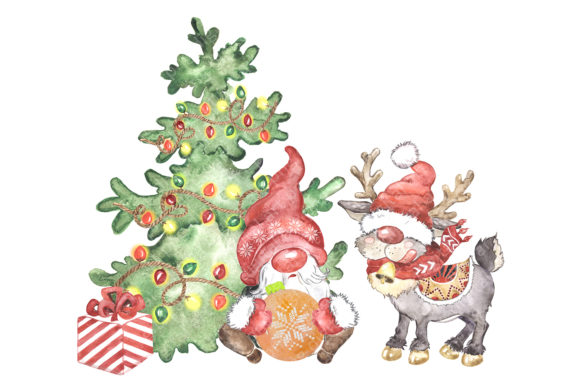 Scandinavian Gnome and Reindeer Clipart Graphic Preview