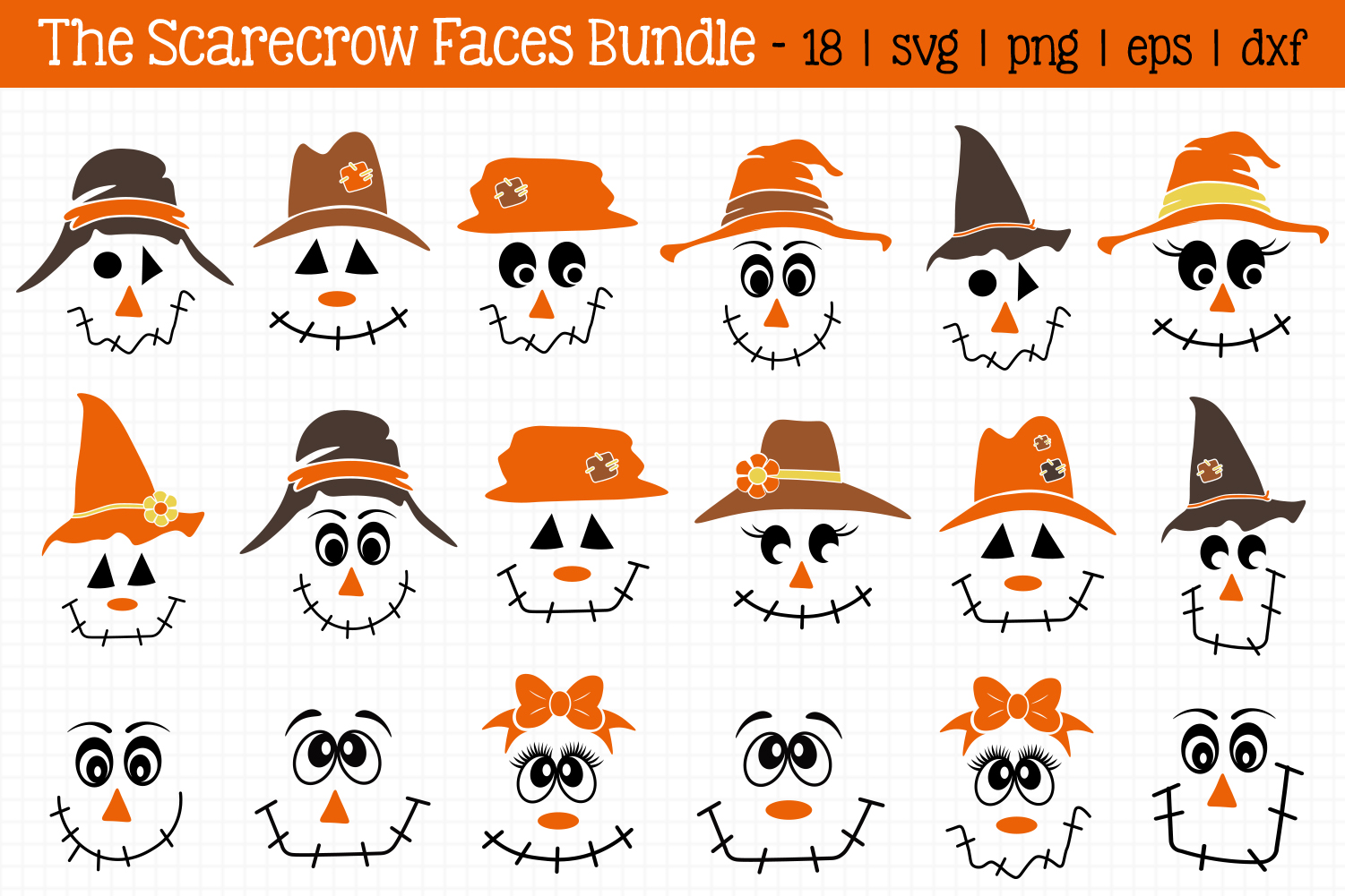 Scarecrow Faces Bundle Graphic By All About Svg Creative Fabrica
