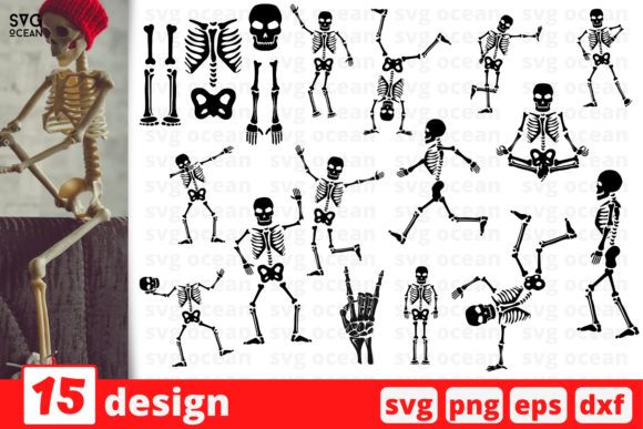 Print on Demand: Skeleton Silhouette SVG Bundle Graphic Crafts By SvgOcean