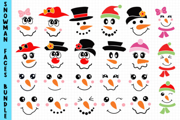 Snowmans Faces Bundle Grafik Crafts von All About Svg