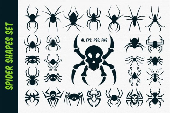 Spider Vector Shapes for Halloween Graphic Illustrations By pixaroma
