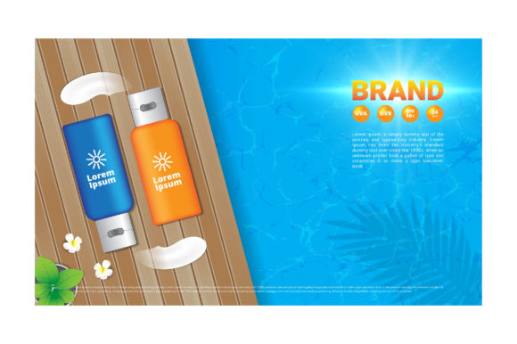 Sunscreen Lotion on Wood Floor Decorate Graphic Illustrations By nhongrand