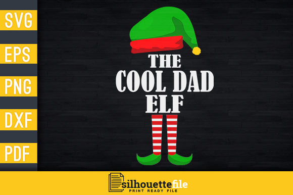 Print on Demand: The Cool Dad Elf Graphic Print Templates By Silhouettefile