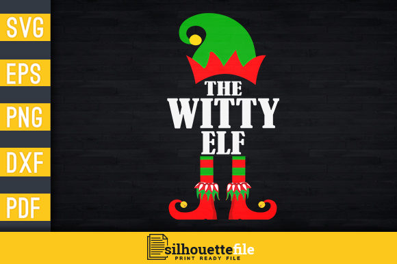 Print on Demand: The Witty Elf Family Graphic Print Templates By Silhouettefile