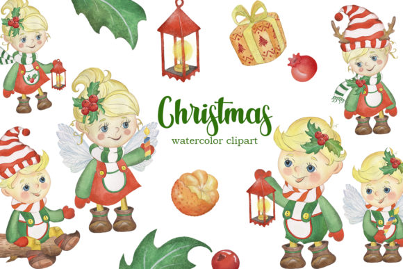 Watercolor Christmas Kids Clipart Graphic Illustrations By EvArtPrint