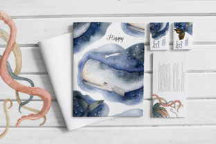 Print on Demand: Watercolor Whales & Patterns Graphic Patterns By By Anna Sokol 2