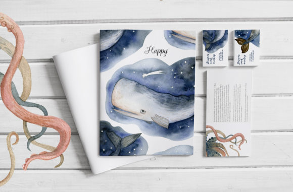 Watercolor Whales & Patterns Graphic Download