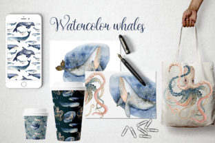 Print on Demand: Watercolor Whales & Patterns Graphic Patterns By By Anna Sokol 3