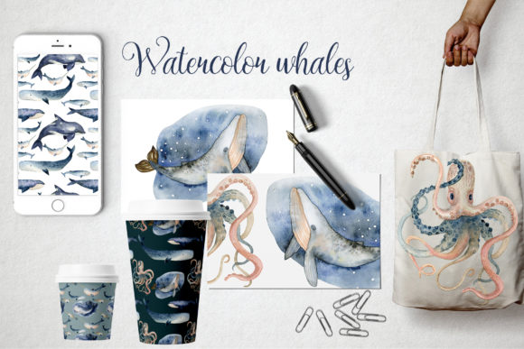 Watercolor Whales & Patterns Graphic Item