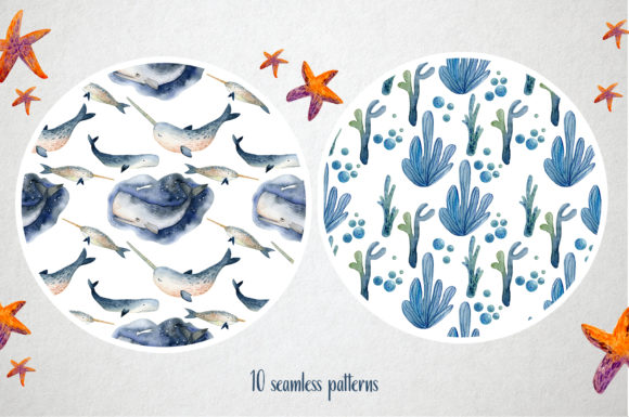 Watercolor Whales & Patterns Graphic Design