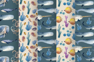 Print on Demand: Watercolor Whales & Patterns Graphic Patterns By By Anna Sokol 6