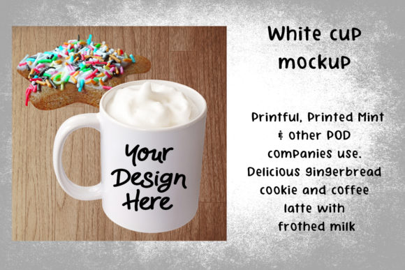 Print on Demand: White Cup Mockup Coffee Latte Graphic Product Mockups By A Design in Time