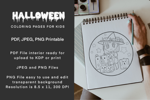 Print on Demand: Witch and Friends Halloween Coloring Graphic Coloring Pages & Books Kids By Twin Flame Journey into the unknown