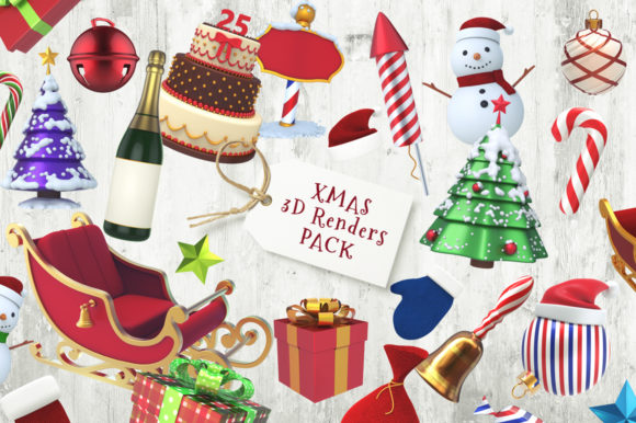 Xmas 3D Renders Pack Graphic Objects By pixaroma