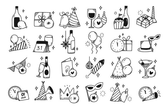 Set of New Year Party Icon Doodle Graphic Icons By Big Barn Doodles