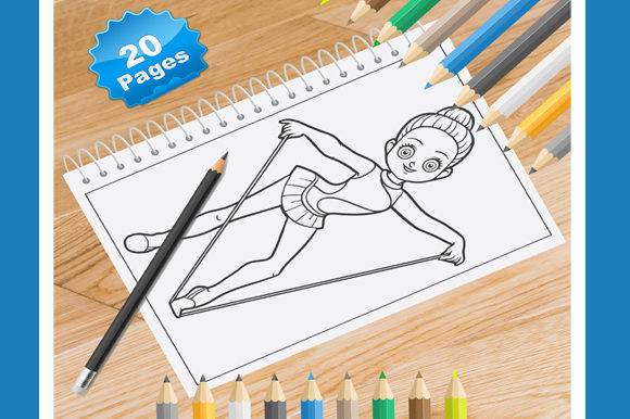Print on Demand: 20 Gymnastics Coloring Pages for Kids Graphic Coloring Pages & Books Kids By Coloring World