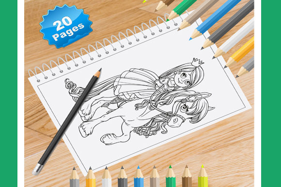 Print on Demand: 20 Princess Coloring Pages for Kids Graphic Coloring Pages & Books Kids By Coloring World