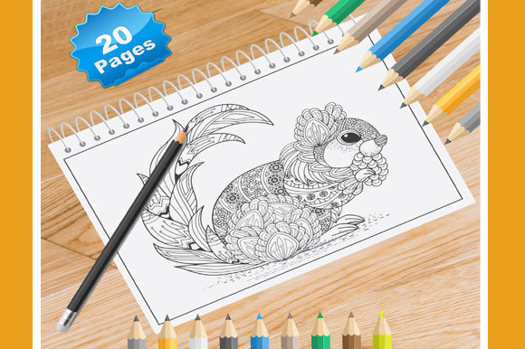 Print on Demand: 20 Squirrel Coloring Pages for Adults Graphic Coloring Pages & Books Adults By Coloring World