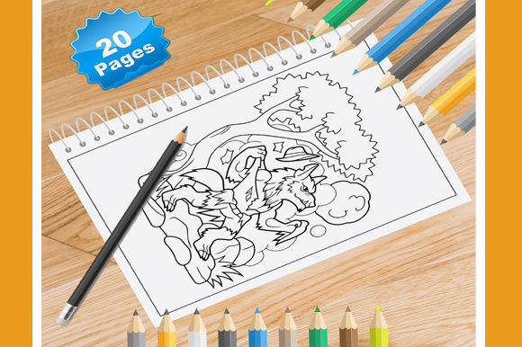 Print on Demand: 20 Wolf Coloring Pages Graphic Coloring Pages & Books By Coloring World