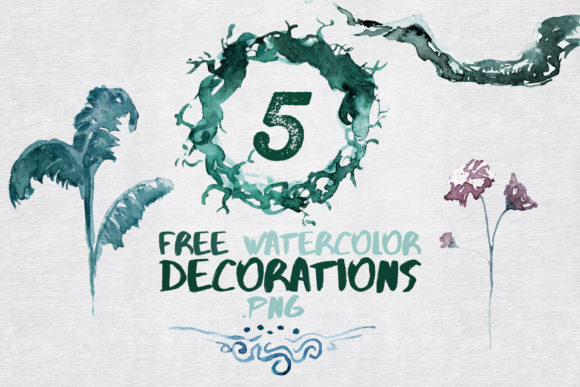 Print on Demand: 5 Watercolor Decorations and Elements Graphic Illustrations By WaterflowArt