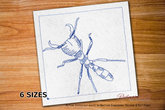 Aafari Ant Machine Bugs & Insects Embroidery Design By Redwork101