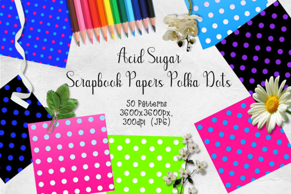 Print on Demand: Acid Sugar Polka Dot Scrapbook Paper Graphic Patterns By Arda Designs