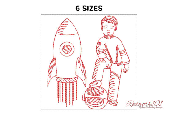Astronaut Posing with Rocket and Helmet Work & Occupation Embroidery Design By Redwork101