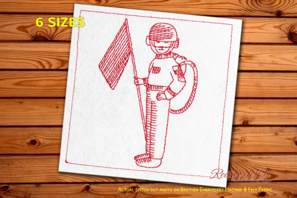 Astronaut Waving Flag Machine Work & Occupation Embroidery Design By Redwork101