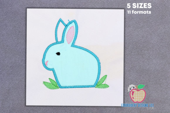 Big Bunny Appique for Kids Farm Animals Embroidery Design By embroiderydesigns101