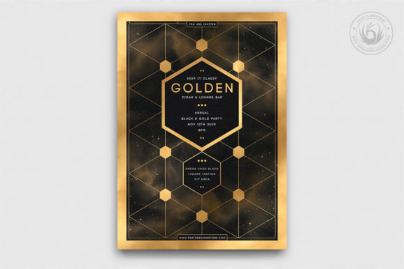 Black and Gold Flyer Template V21 Graphic Print Templates By ThatsDesignStore