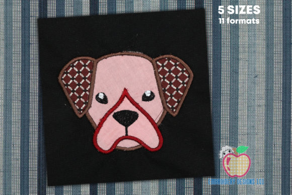 Boxer Dog Head Applique Dogs Embroidery Design By embroiderydesigns101