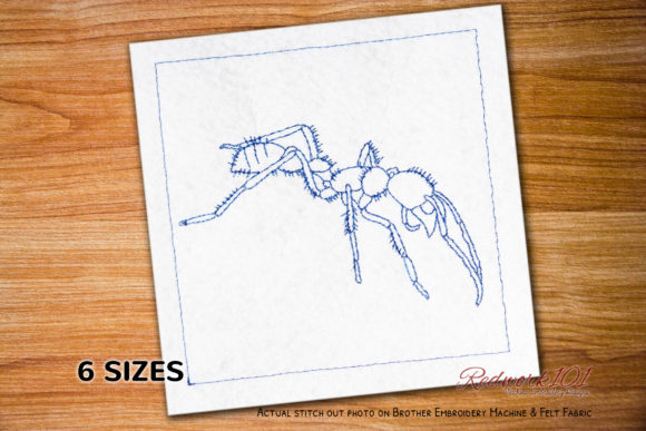 Bullet Ant in the Jungle Redwork Bugs & Insects Embroidery Design By Redwork101