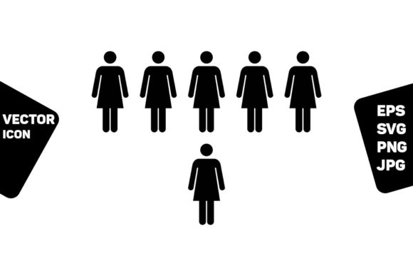 Print on Demand: Business People Icon Vector Female Group Graphic Icons By TukTuk Design