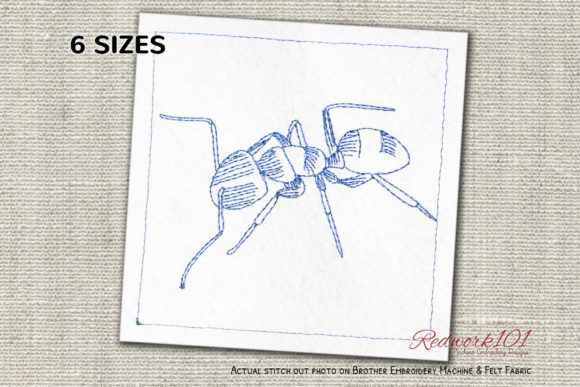 Carpenter Ant Redwork Bugs & Insects Embroidery Design By Redwork101