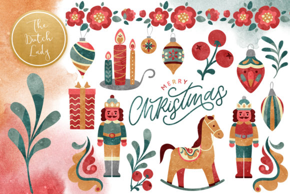 Print on Demand: Christmas Toys & Ornaments Clipart Set Graphic Illustrations By daphnepopuliers
