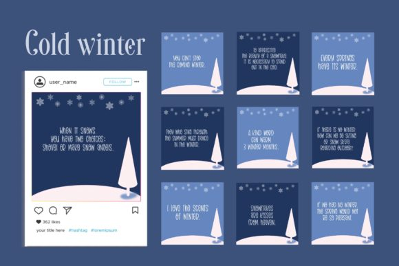Cold Winter Social Media Quote & Icon Graphic Websites By toei.storyline