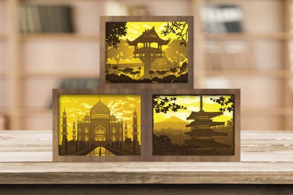 Print on Demand: Combo 3 Templates Landscape 2 Light Box Graphic 3D Shadow Box By LightBoxGoodMan
