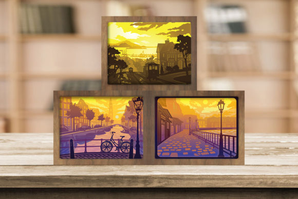 Combo 3 Templates Landscape 3 Light Box Graphic 3D Shadow Box By LightBoxGoodMan