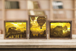 Print on Demand: Combo 3 Templates Landscape 4 Light Box Graphic 3D Shadow Box By LightBoxGoodMan