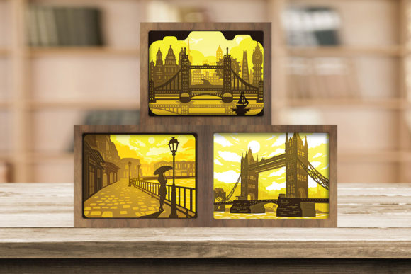 Combo 3 Templates Landscape 5 Light Box Graphic 3D Shadow Box By LightBoxGoodMan