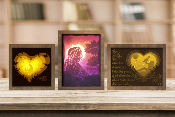 Print on Demand: Combo 3 Templates Mother 1 Light Box Graphic 3D Shadow Box By LightBoxGoodMan