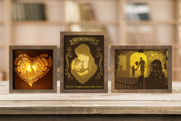 Print on Demand: Combo 3 Templates Mother 2 Light Box Graphic 3D Shadow Box By LightBoxGoodMan