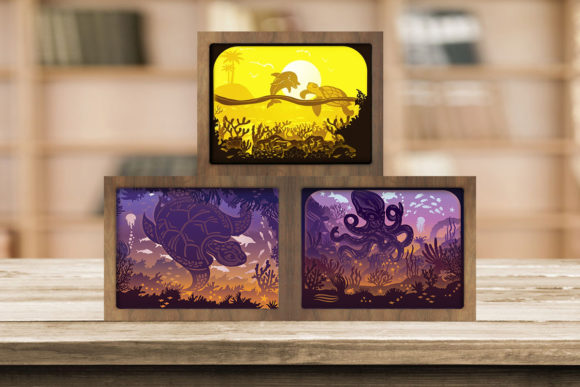 Print on Demand: Combo 3 Templates Ocean 2 Light Box Graphic 3D Shadow Box By LightBoxGoodMan