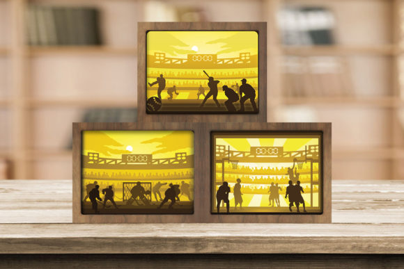 Combo 3 Templates Sport 1 Light Box Graphic 3D Shadow Box By LightBoxGoodMan