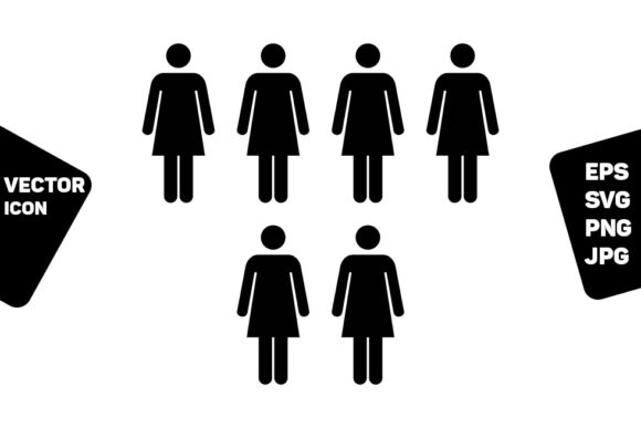 Print on Demand: Company Icon Vector Female Group Persons Graphic Icons By TukTuk Design