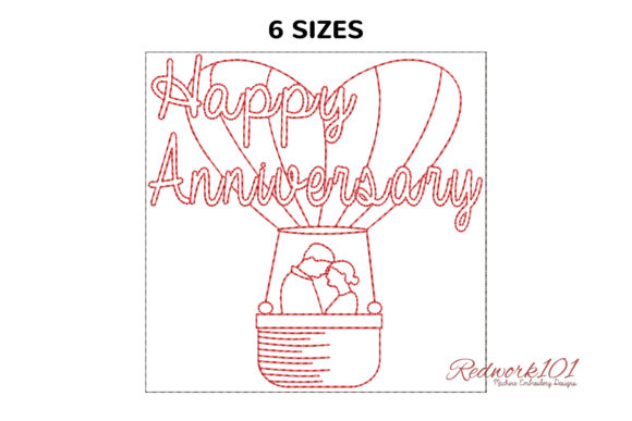 Couple in Hot Air Balloon Machine Embroidery Download