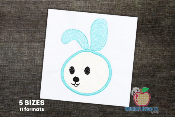 Cute Baby Bunny Appique for Kids Farm Animals Embroidery Design By embroiderydesigns101
