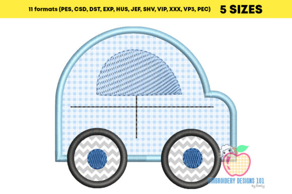Cute Car Design Applique for Kids Embroidery Download
